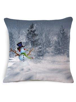 Splendid Snowman Reactive Printing Throw Pillow Case