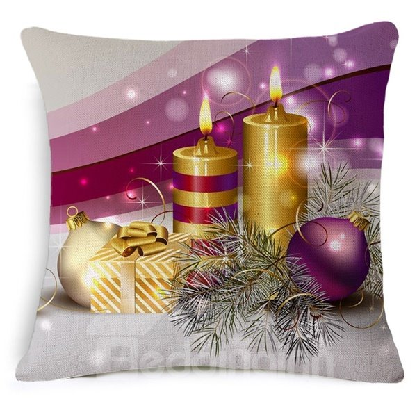 Noble Candle and Gift Print Throw Pillow Case
