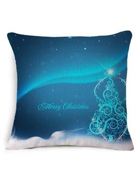 Mysterious Blue Christmas Tree Print Throw Pillowcase
