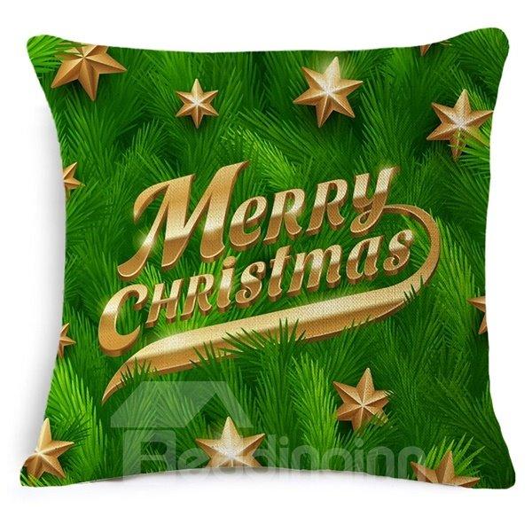 Lucky Star and Merry Christmas Print Throw Pillowcase