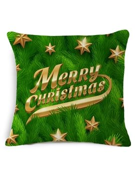 Lucky Star and Merry Christmas Print Throw Pillowcase