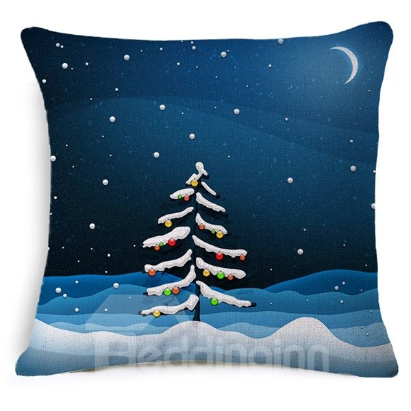 Excellent Christmas Tree in Moonlight Print Throw Pillow Case