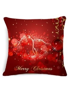 Dreamy Jingle Bell Red Throw Pillow Case
