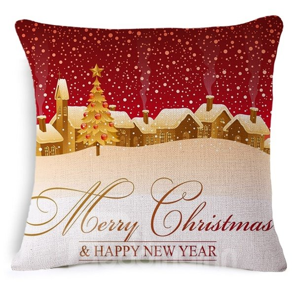 Pretty Snow Scenery Print Throw Pillow Case