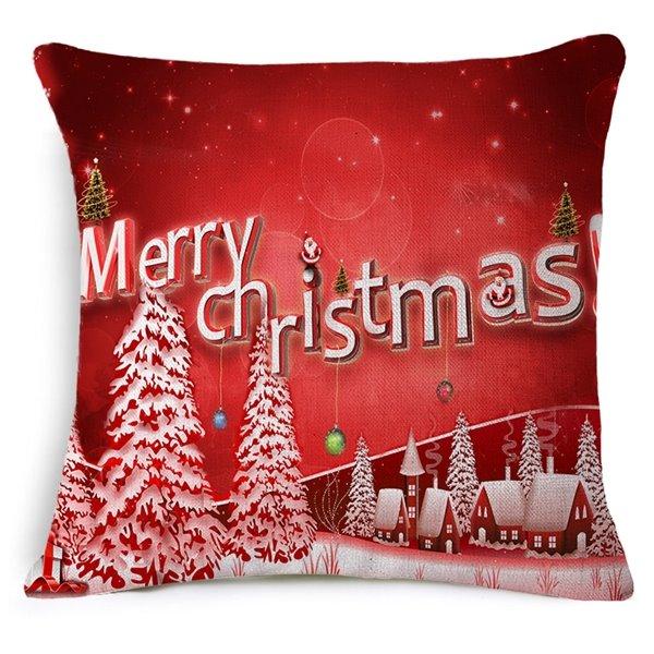 Christmas Tree Print Red Throw Pillow Case