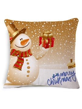 Adorable Snowman and Gift Print Throw Pillow Case