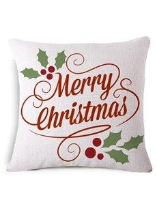 Unique Merry Christmas Reactive Printing White Throw Pillowcase