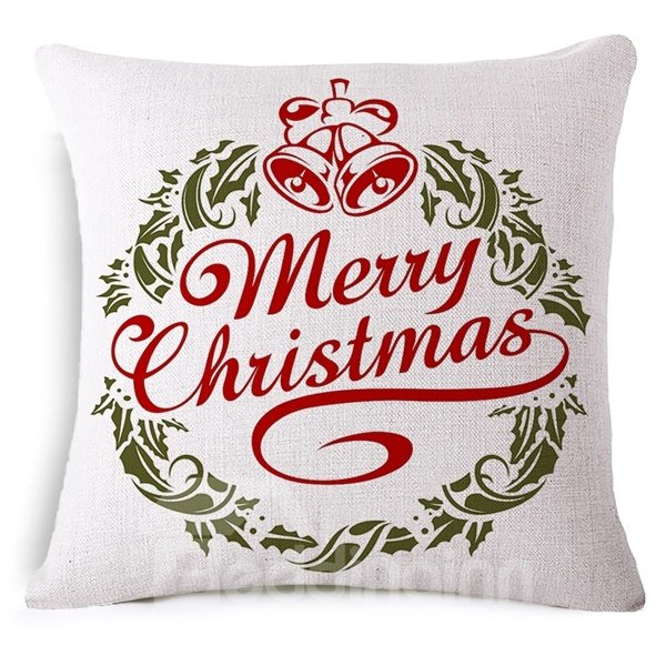 Jingle Bell and Merry Christmas Print Throw Pillowcase
