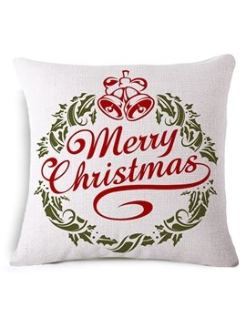 Jingle Bell and Merry Christmas Print Throw Pillowcase