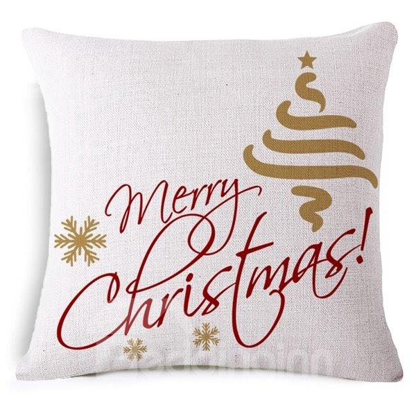 Creative Snowflake and Merry Christmas Print Throw Pillowcase