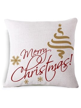 Creative Snowflake and Merry Christmas Print Throw Pillowcase