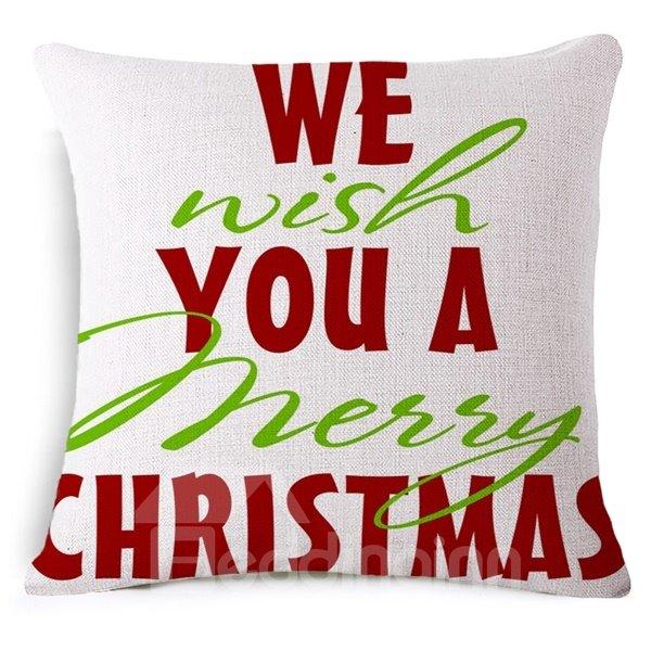We Wish You a Merry Christmas Print Throw Pillowcase