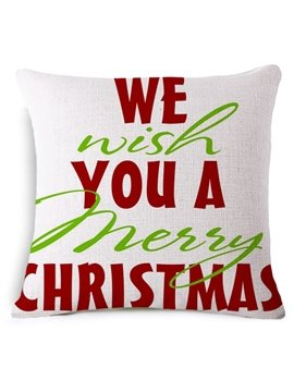 We Wish You a Merry Christmas Print Throw Pillowcase