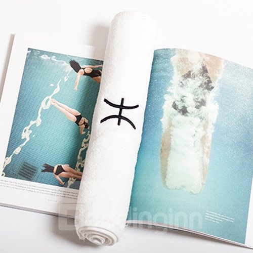 Softness and Absorbency White with Symbol of Pisces Face & Hand Towel