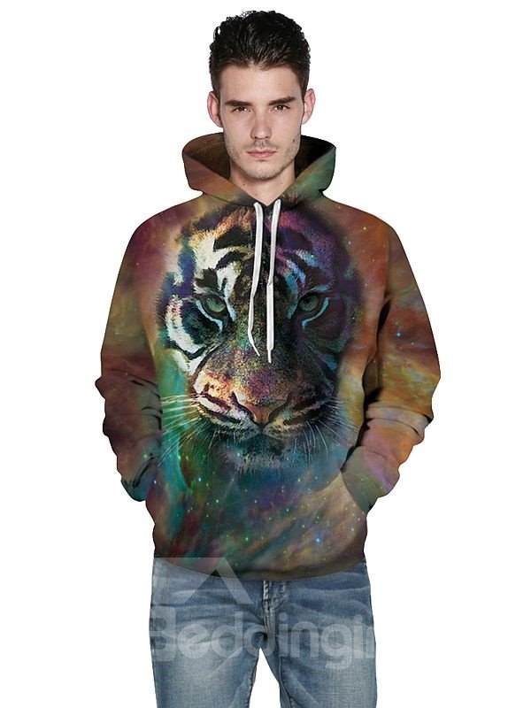 Long Sleeve Tiger Face Pattern 3D Painted Hoodie