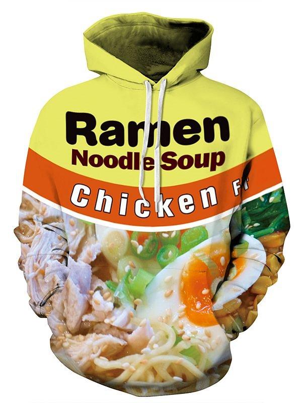 Super Long Sleeve Noodle Soup Pattern 3D Painted Hoodie