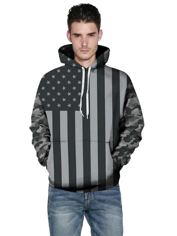 Fashion Long Sleeve Grey American Flag Pattern 3D Painted Hoodie