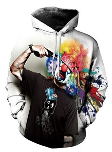 Fashion Long Sleeve Clown Pattern 3D Painted Hoodie