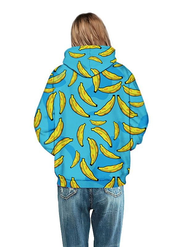Lovely Long Sleeve Banana Pattern Blue Background 3D Painted Hoodie