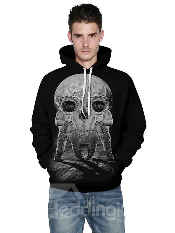 Concise Long Sleeve Two Spacemen Pattern 3D Painted Hoodie