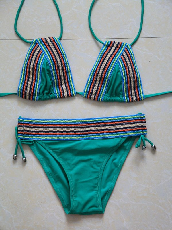 Female Exotic Style Vintage Green Free Wire with Falsies Sexy Top-up Bikini Set