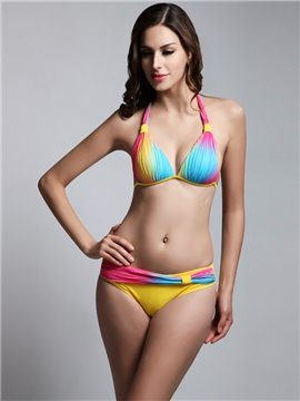 Female Colorful Pleated Free Wire Bra with Falsies Sexy Top up Bikini Set