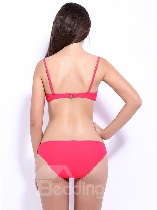 Female Solid Color Beach Swimwear with Falsies and Free Wire Bikini Set