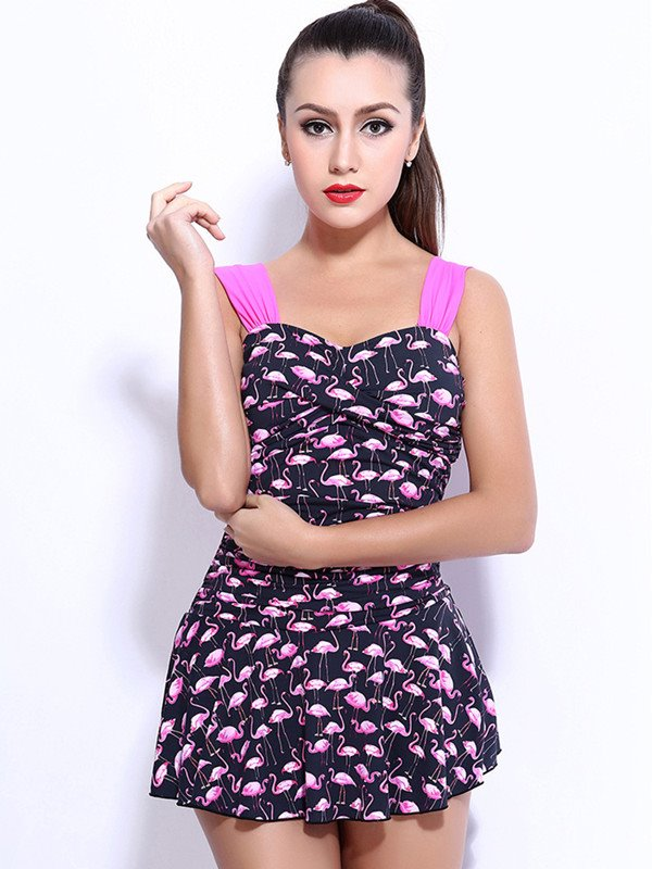 Female Cute Flamingo Swimwear with Free Wire and Falsies Push-up Tankini