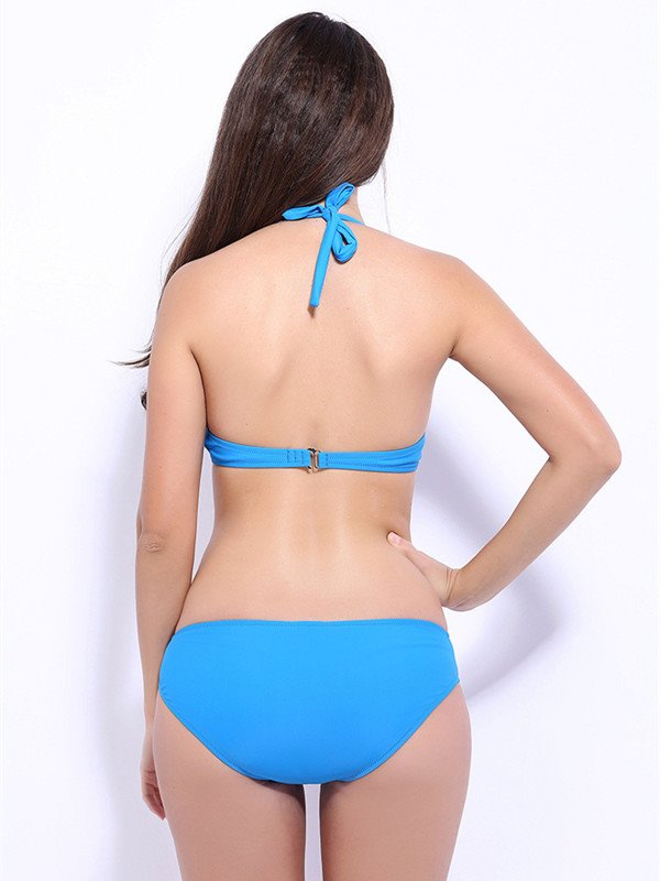 Female Solid Color Simple Style Free Wire Bra with Falsies Push Up Bikini Set