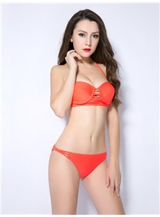 Female Solid Color Hollow Free Wire Bra with Flsies Halter Bikini Set