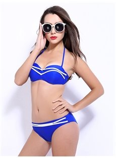 Female Solid Color Halter Free Wire Bra with Falsies Sexy Bikini Set