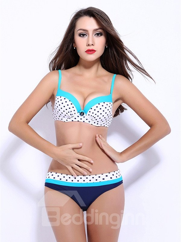 Female Polka Dots Push Up Bra with Free Wire and Falsies Bikini Set