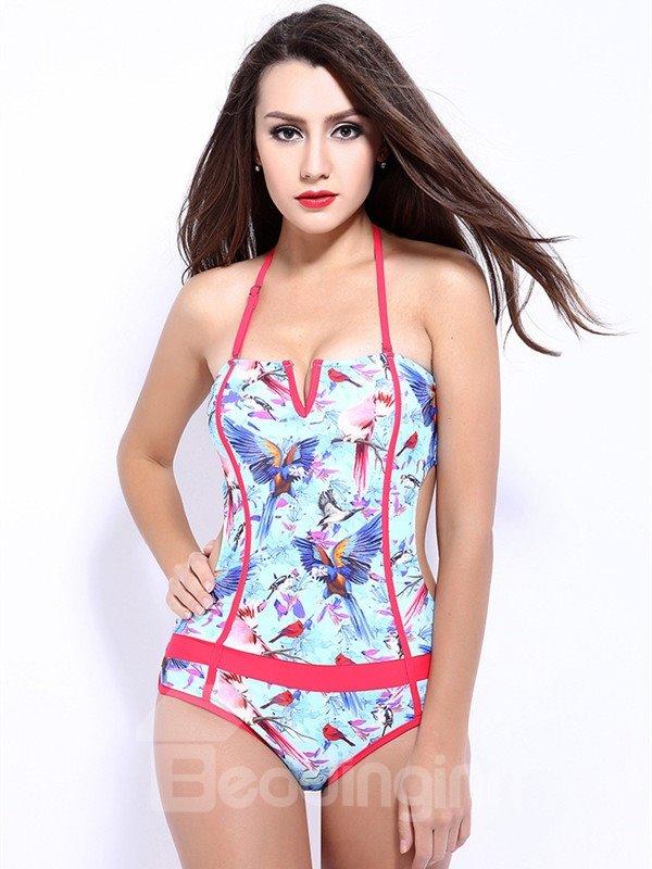 Female Free Wire Halter Beach Wear with Falsies Sexy Hollow Monokini
