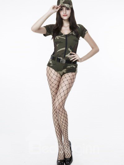Sexy Army Green Style With Attractive Stock Cosplay Costumes