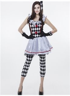 Fashional Black White Diamond Grid Design Cosplay Costumes