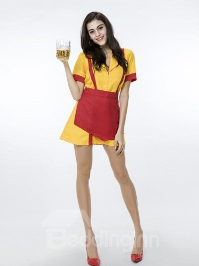 Two Broke Girls In Special Yellow Work Uniforms With Beer Cosplay Costumes