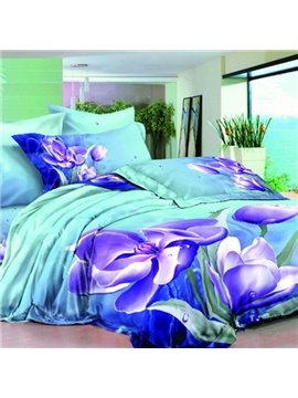 Purple Clematis Florida 3D Printed Fitted Sheet