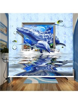 Amazing Dolphin Swimming Printing 3D Roller Shades