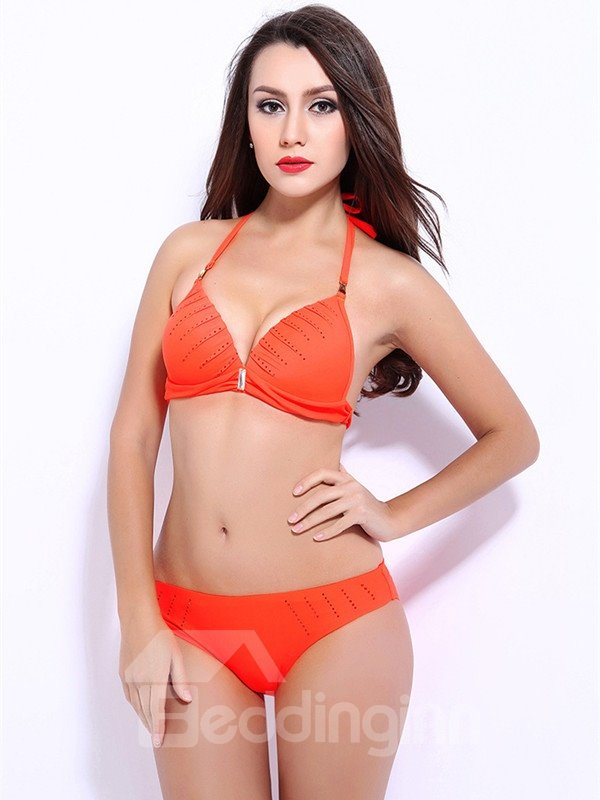 Female Solid Color Halter Free Wire Bra with Sequins Push-up Bikini Set