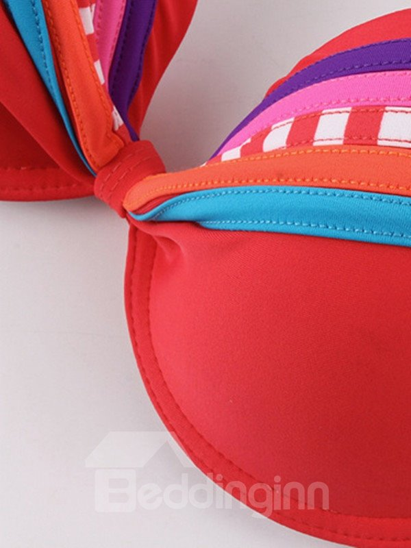 Female Sexy Colorful Free Wire Pleated Bra with Falsies Bikini Set