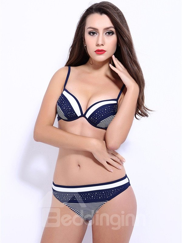 Female Simple Style Free Wire Bra with Falsies Push up Bikini Set