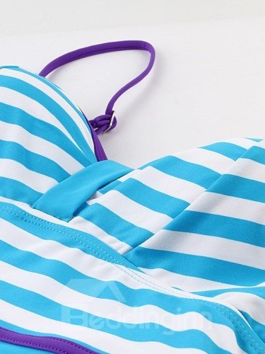 Female Strip Pattern Halter Free Wire Bra with Falsies Monokini