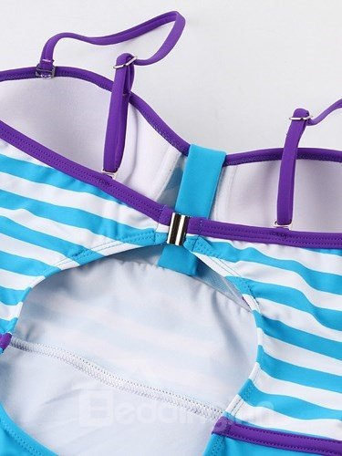 Female Strip Pattern Halter Free Wire Bra with Falsies Monokini