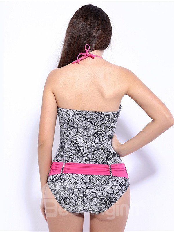 Female Vintage Paisley Push Up Bra with Falsies and Free Wire Halter Monokini
