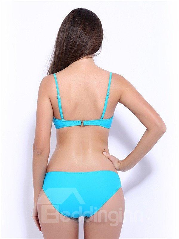 Female Strip Hollow Bra with Falsies and Free Wire Sexy Bikini Set