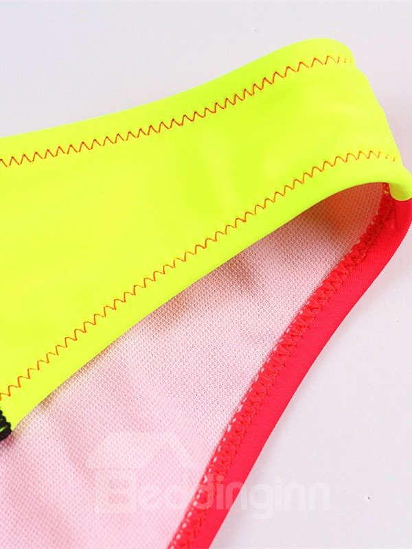 Female Bright Color Block Bra with Free Wire and Falsies Sexy Bikini Set