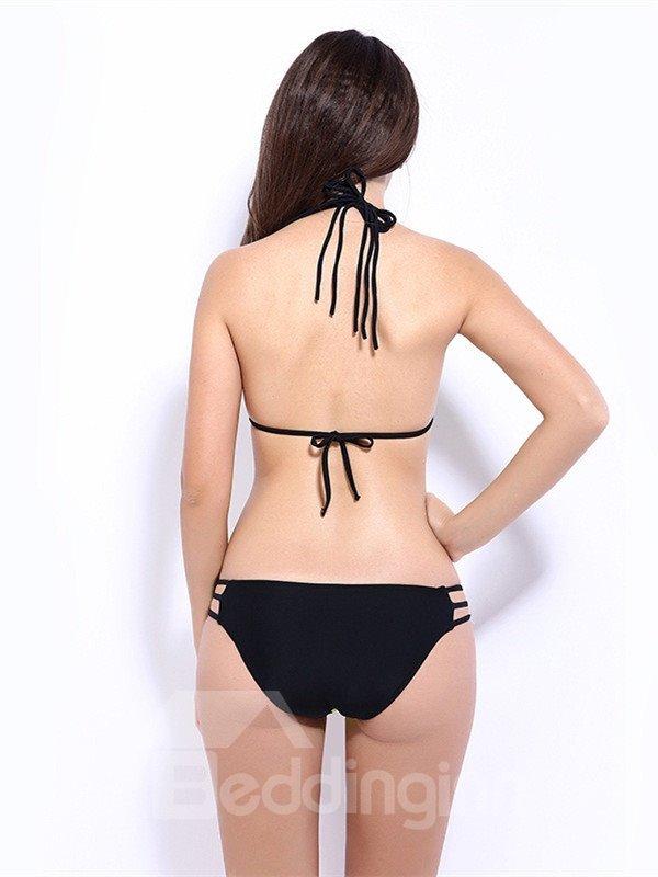 Female Sexy Grid Hollow Free Wire Halter Bikini Set