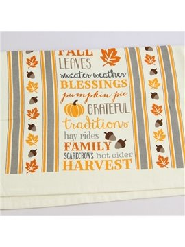 Pumpkin and Maple Leaf Beige Printing Face & Hand Towel