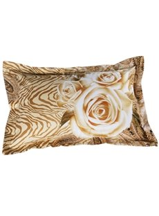 Gorgeous 3D Golden Rose Printed 2-Piece Pillow Cases