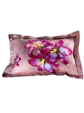 Wonderful Pink Lily Print 2-Piece Pillow Cases